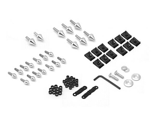Motorcycle Spike Fairing Bolts Silver Spiked Kit For 2001