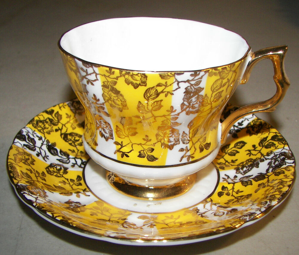 Royal Windsor Fine Bone China Footed Cup & Saucer England Yellow & Gold   eBay