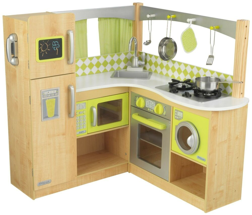 New Limited Edition Kidkraft Wooden Gourmet Lime Green Corner Play Kitchen  eBay