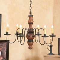 PRIMITIVE CHANDELIER Wood Metal CANDELABRA Rustic Colonial ...