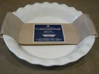 "Corningware 9.5"" ETCH Stoneware PIE PLATE *Choice BLUE"