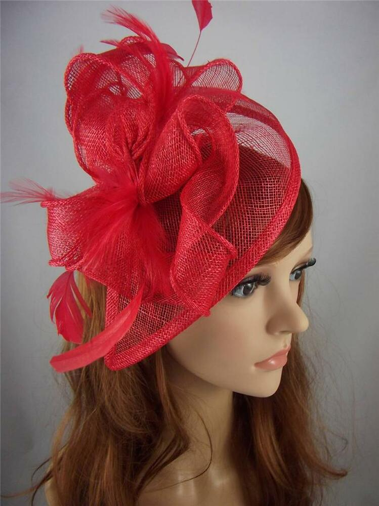 Red Sinamay Amp Feather Teardrop Hat Fascinator Occasion