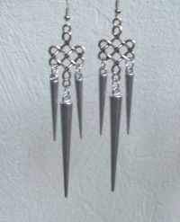 Long silver Spike Filigree Earrings