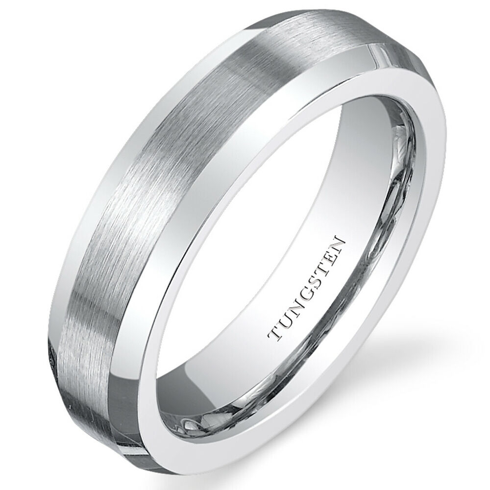 Beveled Edge Womens White Tungsten Wedding Band Ring