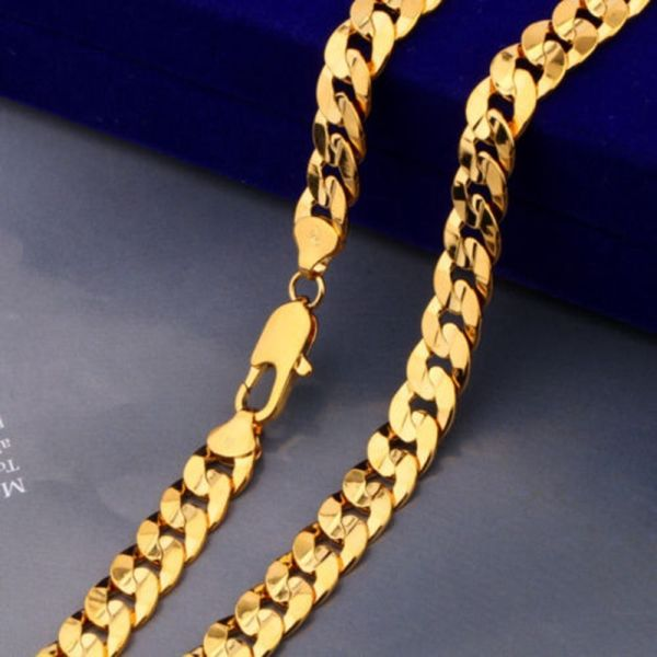"""Mens Womens 20"""" 24k Yellow Gold Filled Curb Solid Chain"""