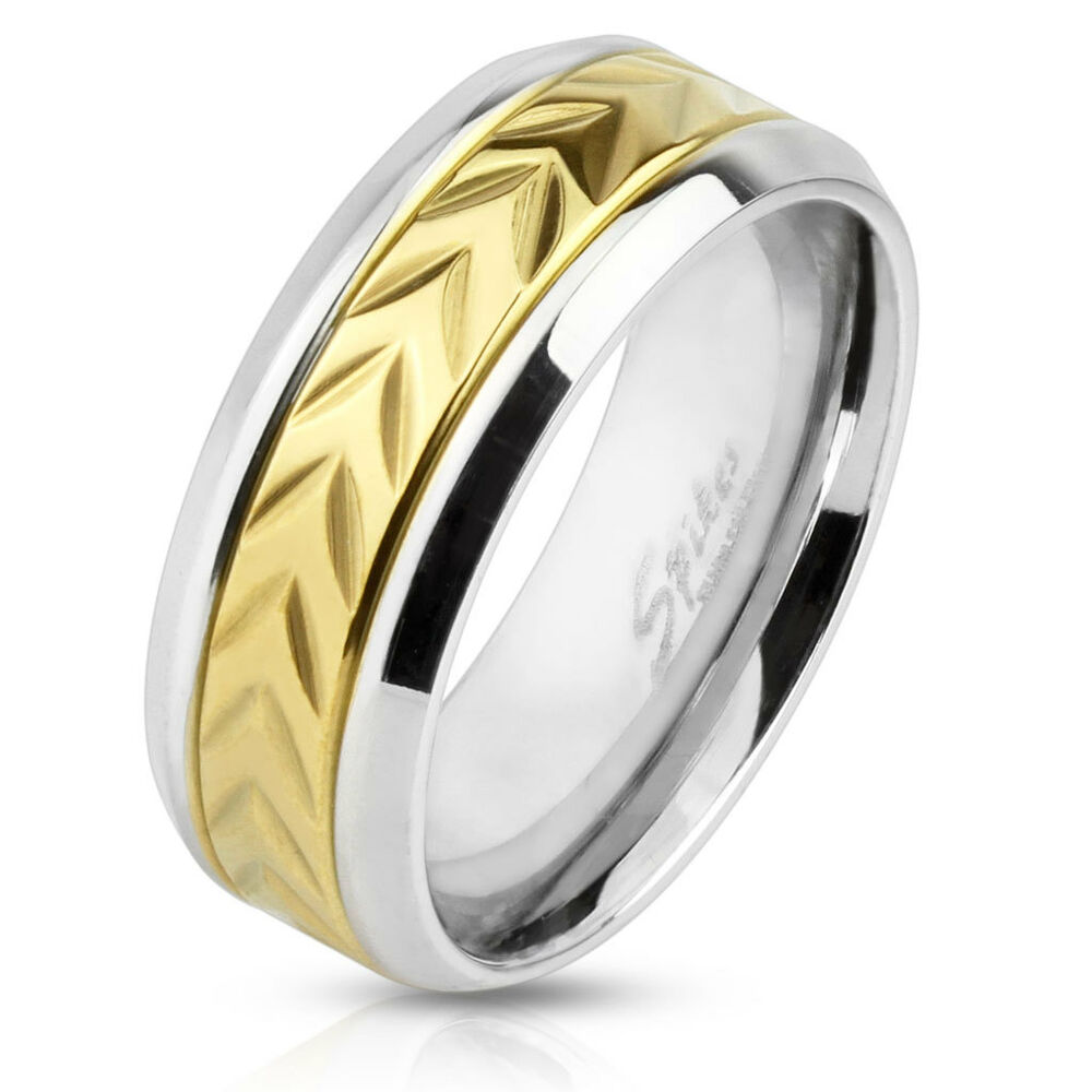 Mens 8mm Stainless Steel Wedding Engagement Band Arrow