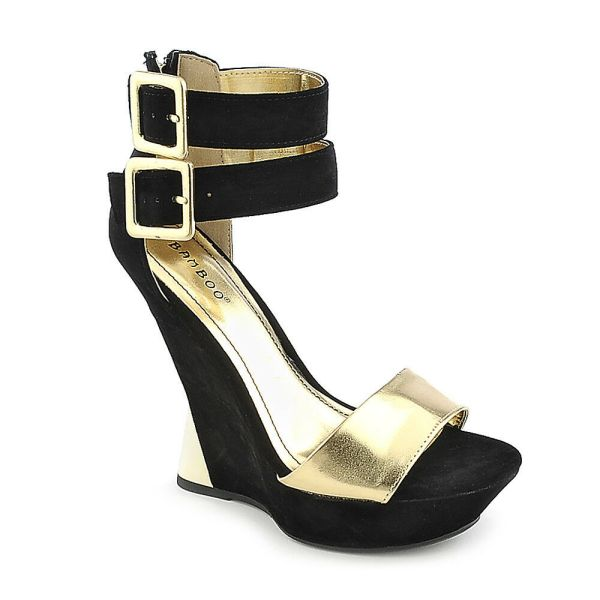 Sexy Dual Adjustable Ankle Straps Wedges High Heels