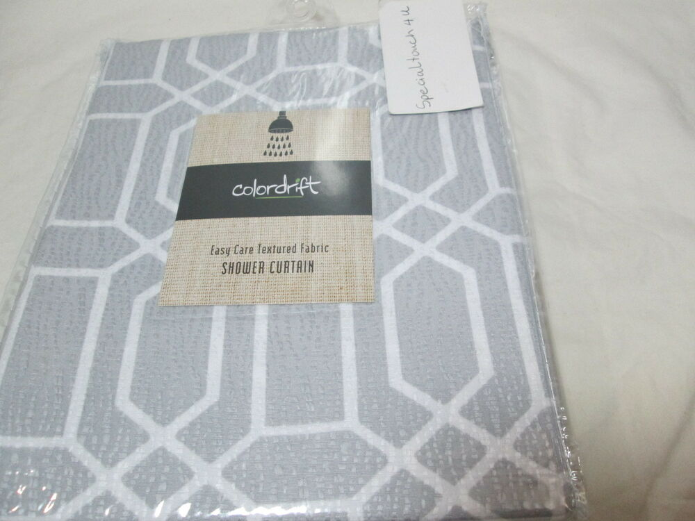 New Colordrift PENNY Fabric Shower Curtain 72x72 Silver And White NIP EBay