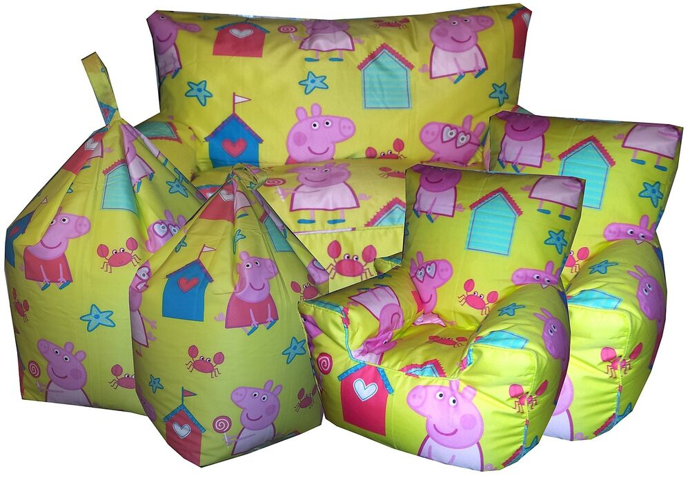 doc mcstuffins upholstered chair uk fancy leather peppa pig beanbags, childrens character bean chair, kids beanbag sofa's | ebay
