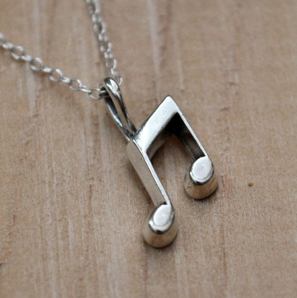 Music Note Necklace - 925 Sterling Silver Charm Notes