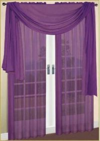 PURPLE SCARF SHEER VOILE WINDOW CURTAIN DRAPES VALANCE ...
