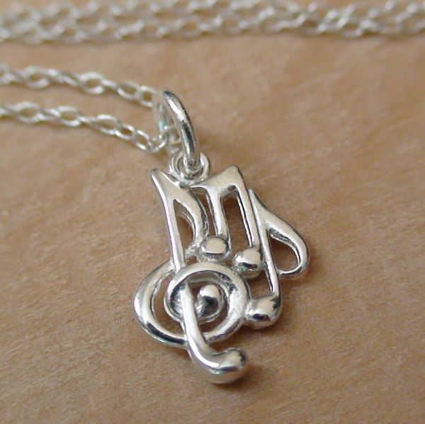 Music Notes Charm Necklace - 925 Sterling Silver Treble Clef Note