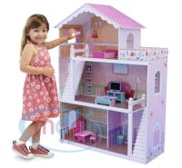 MCC Wooden Kids Doll House With Furniture & Staircase Fits