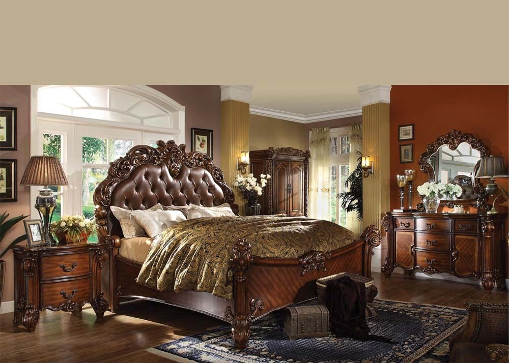 Antique Traditional Forml Luxury Queen King Size Bed Set Bedroom Home Furniture  eBay