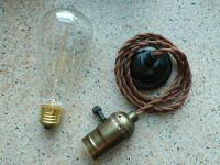 Vintage Edison lamp with Twisted wire Antique cord & bulb ...
