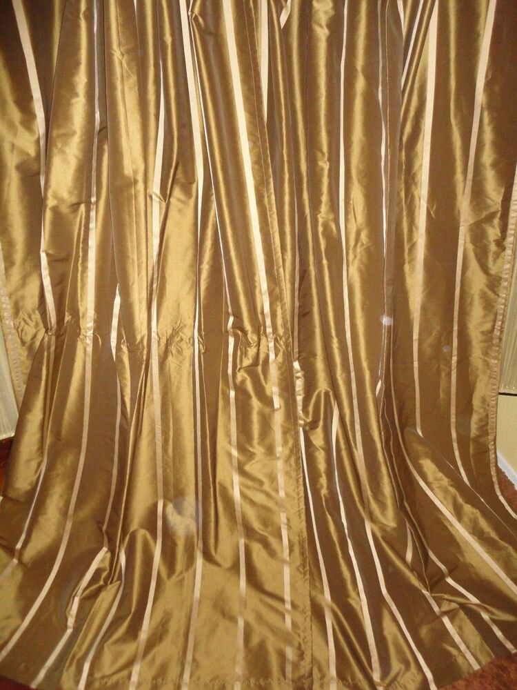 PIER 1 COCOA GOLD STRIPE PAIR LINED DRAPERY PANELS CURTAINS STRIPE 54X82  eBay