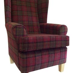 Red High Back Chair Bedroom Wanted Wing Back/fireside In Burgundy Lana Tartan Fabric   Ebay