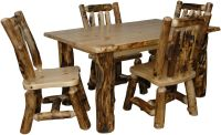 Rustic Aspen Log 5 PIECE DINING SET | eBay