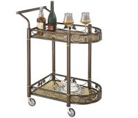 Tea Serving Bar Cart on Wheels & Glass shelves Antique ...