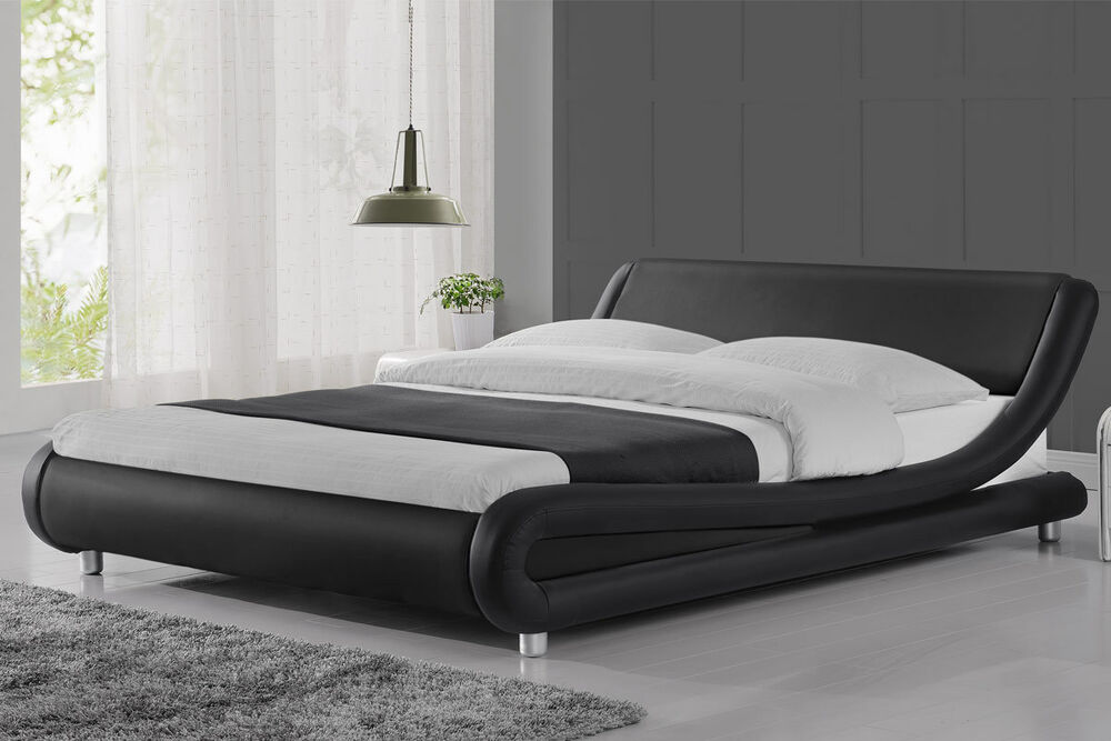 Modern Curved Designer Faux Leather Bed Frame Double King