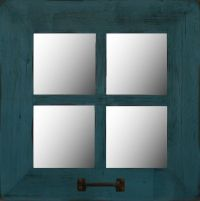 "Rustic 4-Pane Barn Wood Window Pane Mirror 18"" x 18 ..."