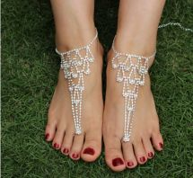 Wedding Crystal Bridal Barefoot Sandals Foot Jewellery