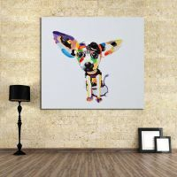 Hand-painted funny dog modern abstract canvas oil painting ...