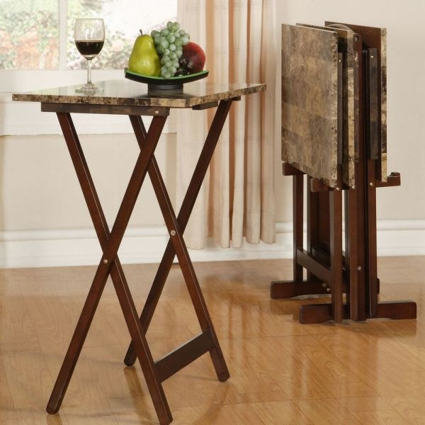 Tv Tray Table Set Brown Faux Marble Dining Snacks Crafts Reading Cocktail Coffee