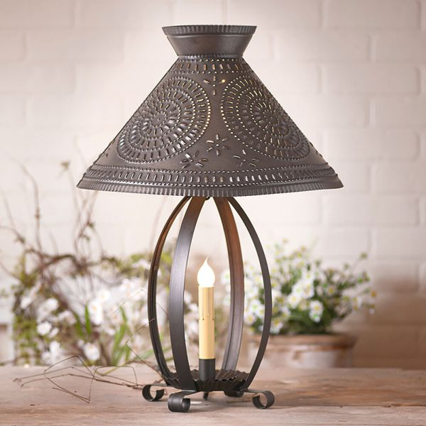 Ross Colonial Table Lamp With Pierced Chisel Pattern