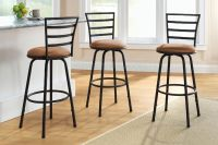 3 Swivel Bar Stool Counter Height Kitchen Chairs Tall ...