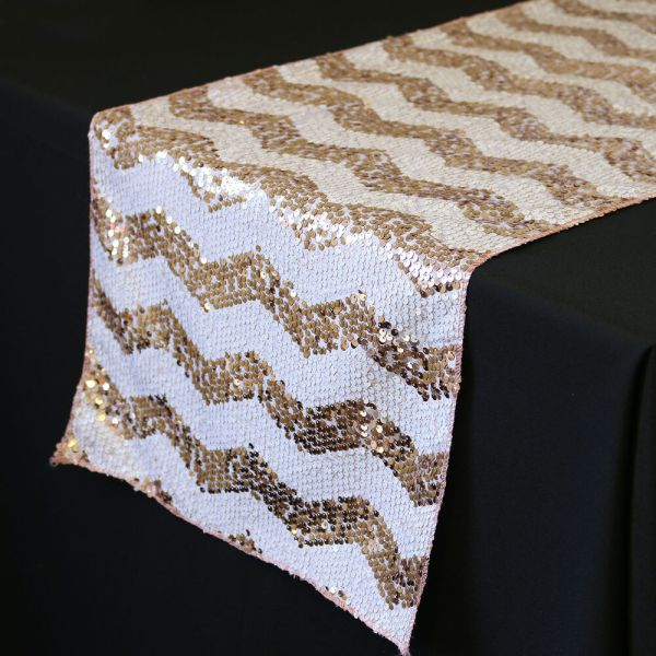 14 X 108 Chevron Sequin Table Runners White And Blush