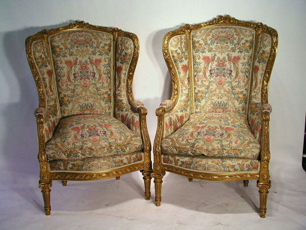 Antique Pair Of LOUIS XVI BERGERE WING CHAIRS MUSEUM