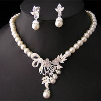 Crystal Pearl Silver Plated Necklace&Earrings Wedding ...