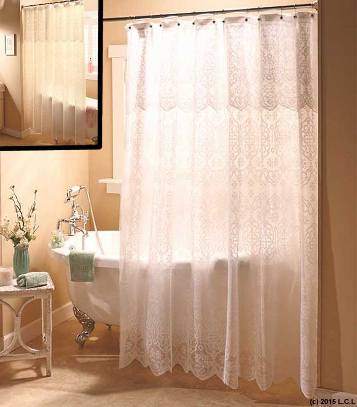 Lace Shower Curtain w Valance  Liner IN HAND White or