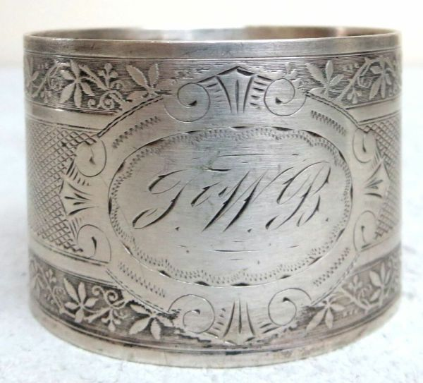 Antique German Continental Silver Engraved Napkin Ring