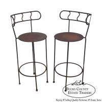 Vintage Pair of Distressed Industrial Metal Bar Stools | eBay
