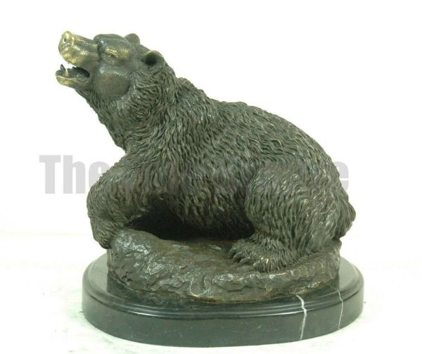 Signed Milo Roaring Bear Bronze Statue Sculpture