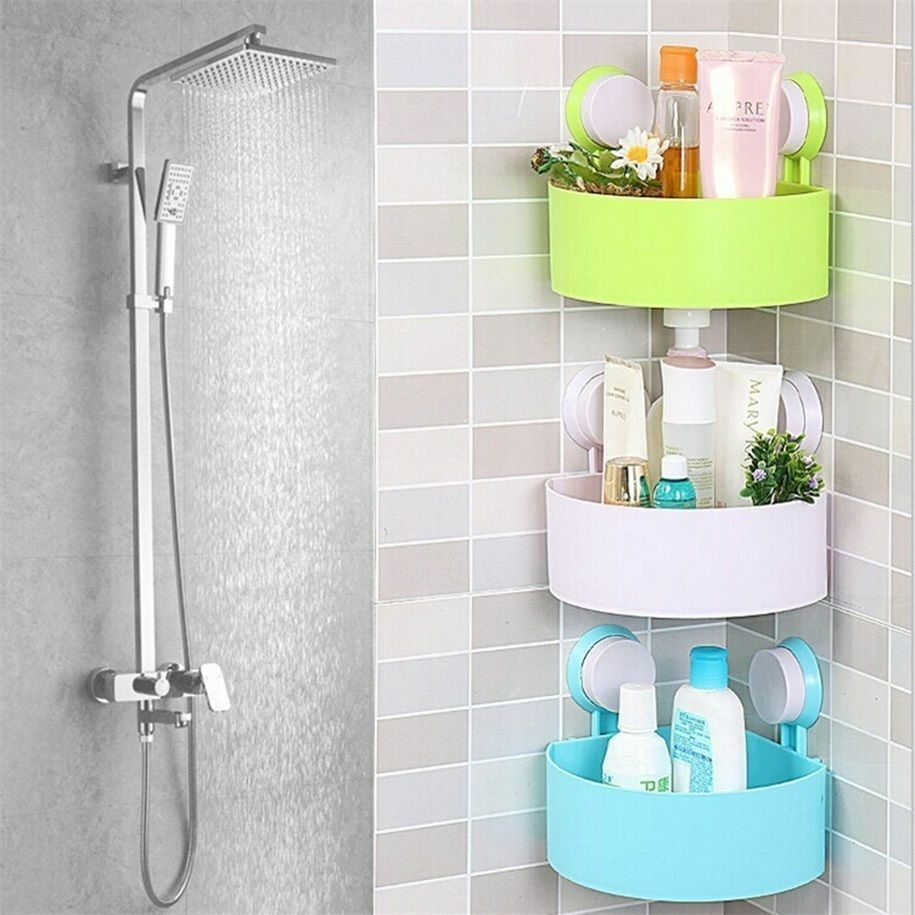 Plastic Bathroom Corner Storage Rack Organizer Shower Shelf Suction Cup LO  eBay