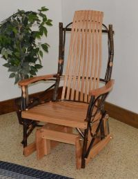 RUSTIC HICKORY AND OAK PORCH GLIDER ROCKER