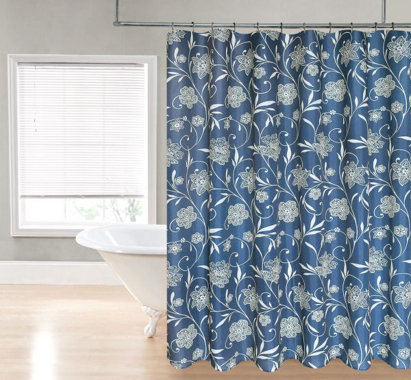 Vanessa Navy Blue Floral Scroll Paisley Fabric Shower Curtain