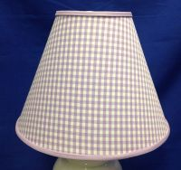 Lavendar White Gingham Check Handmade Lamp Shade Lampshade