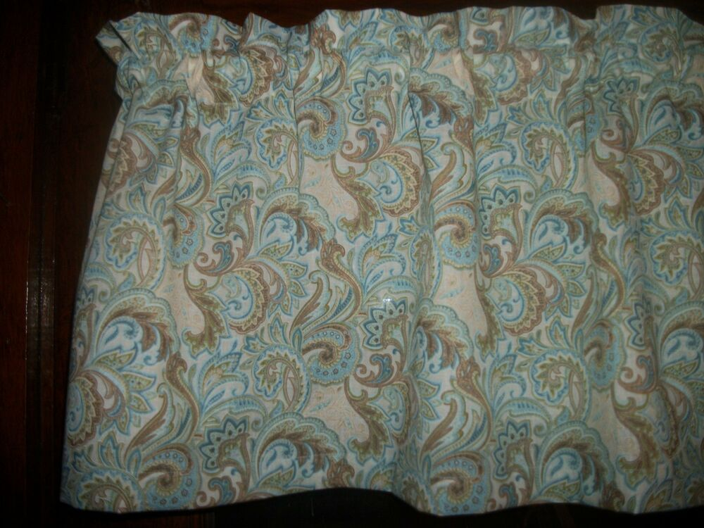 Light Blue Seafoam Paisley Floral Flowers Curtain Window Topper Valance EBay