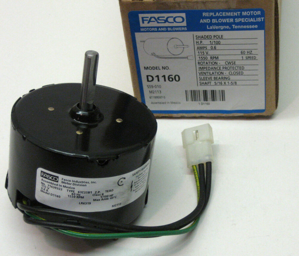 D1160 Fasco Bathroom Fan Vent Motor for 71632593 655 661
