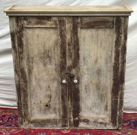 19TH CENTURY PRIMITIVE PINE WALL CABINET IN NICE OLD GREEN ...