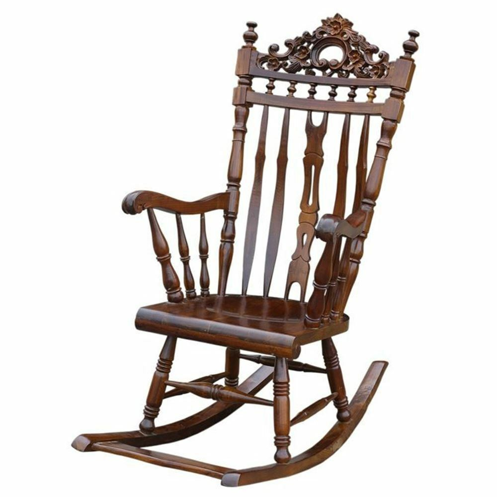 Solid Mahogany Wood Rocking Chair Hand Crafted Antique