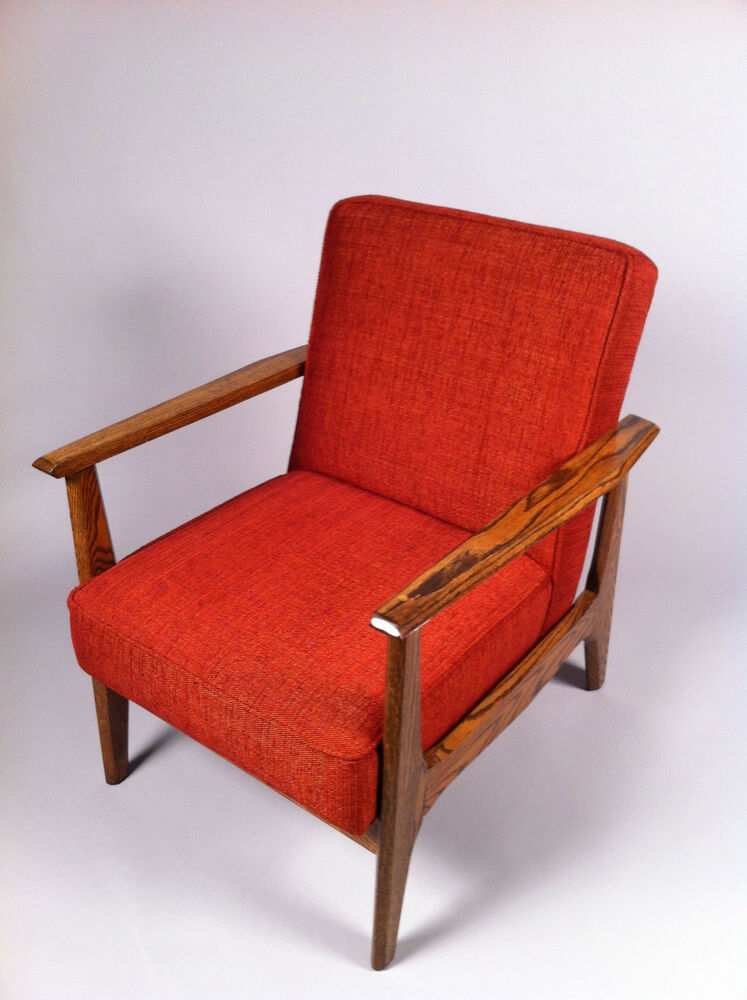 Refinished and Reupholstered Mid Century Modern Arm Chair