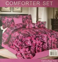 Camouflage Luxory Comforter - 7 Piece Set - Pink - (Full ...