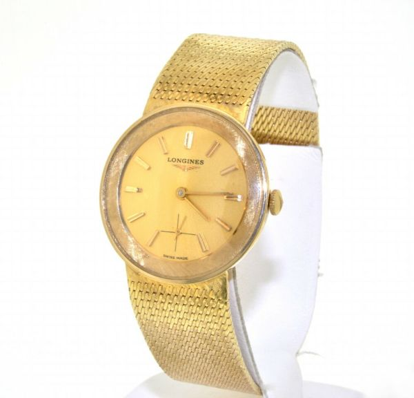 Elegant Longines 14k Yellow Solid Gold Men' Watch With Band