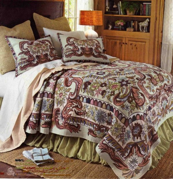 Multicolor French Tapestry King bed coverlet with