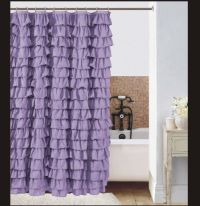 Waterfall Ruffle Fabric Shower Curtain color lilac | eBay